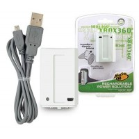 MADCATZ High Quality RECHARGEABLE BATTERY PACK & USB Charge Cable WHITE XBOX 360